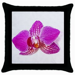 Lilac Phalaenopsis Flower, Floral Oil Painting Art Throw Pillow Case (black)