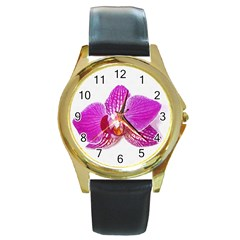 Lilac Phalaenopsis Flower, Floral Oil Painting Art Round Gold Metal Watch