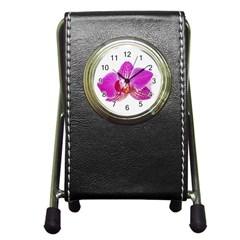 Lilac Phalaenopsis Flower, Floral Oil Painting Art Pen Holder Desk Clocks
