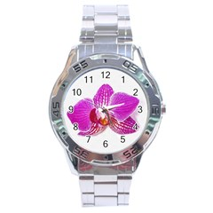 Lilac Phalaenopsis Flower, Floral Oil Painting Art Stainless Steel Analogue Watch