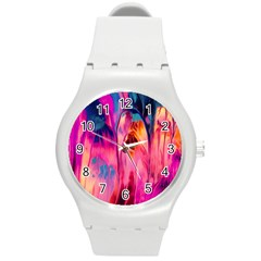 Abstract Acryl Art Round Plastic Sport Watch (m)