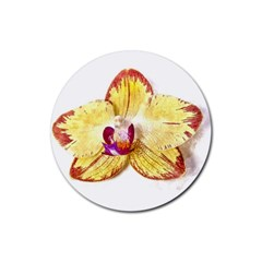 Yellow Phalaenopsis Flower, Floral Aquarel Watercolor Painting Art Rubber Round Coaster (4 Pack)