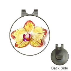 Yellow Phalaenopsis Flower, Floral Aquarel Watercolor Painting Art Hat Clips With Golf Markers