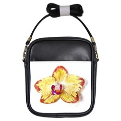 Yellow Phalaenopsis Flower, Floral Aquarel Watercolor Painting Art Girls Sling Bags