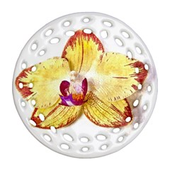 Yellow Phalaenopsis Flower, Floral Aquarel Watercolor Painting Art Ornament (round Filigree)