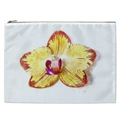 Yellow Phalaenopsis Flower, Floral Aquarel Watercolor Painting Art Cosmetic Bag (xxl)