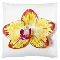 Yellow Phalaenopsis Flower, Floral Aquarel Watercolor Painting Art Large Flano Cushion Case (two Sides)