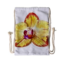 Yellow Phalaenopsis Flower, Floral Aquarel Watercolor Painting Art Drawstring Bag (small)