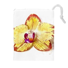 Yellow Phalaenopsis Flower, Floral Aquarel Watercolor Painting Art Drawstring Pouches (extra Large)
