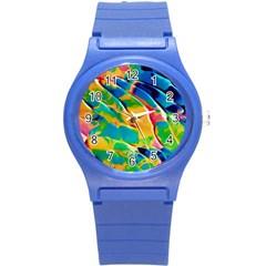 Abstract Acryl Art Round Plastic Sport Watch (s)