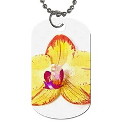 Phalaenopsis Yellow Flower, Floral Oil Painting Art Dog Tag (one Side)