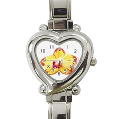 Phalaenopsis Yellow Flower, Floral Oil Painting Art Heart Italian Charm Watch