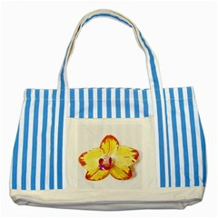 Phalaenopsis Yellow Flower, Floral Oil Painting Art Striped Blue Tote Bag