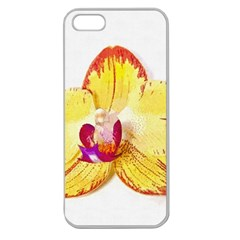 Phalaenopsis Yellow Flower, Floral Oil Painting Art Apple Seamless Iphone 5 Case (clear)