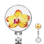 Phalaenopsis Yellow flower, floral oil painting art Stainless Steel Nurses Watch Front