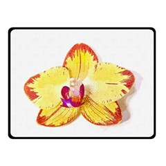 Phalaenopsis Yellow Flower, Floral Oil Painting Art Double Sided Fleece Blanket (small)