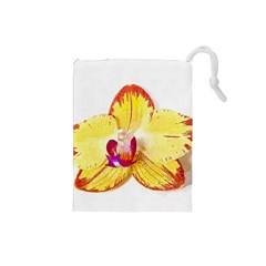 Phalaenopsis Yellow Flower, Floral Oil Painting Art Drawstring Pouches (small)