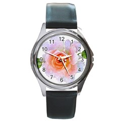 Pink Rose Flower, Floral Oil Painting Art Round Metal Watch