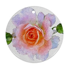 Pink Rose Flower, Floral Oil Painting Art Ornament (round)
