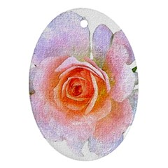 Pink Rose Flower, Floral Oil Painting Art Ornament (oval)