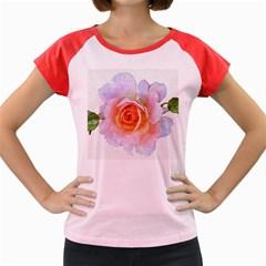 Pink Rose Flower, Floral Oil Painting Art Women s Cap Sleeve T Shirt