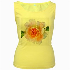 Pink Rose Flower, Floral Oil Painting Art Women s Yellow Tank Top