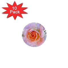 Pink Rose Flower, Floral Oil Painting Art 1  Mini Buttons (10 Pack)