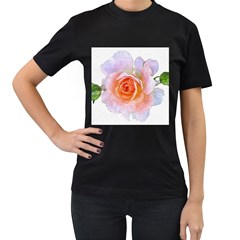 Pink Rose Flower, Floral Oil Painting Art Women s T Shirt (black) (two Sided)