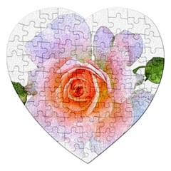 Pink Rose Flower, Floral Oil Painting Art Jigsaw Puzzle (heart)