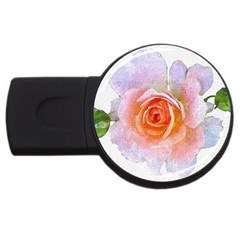 Pink Rose Flower, Floral Oil Painting Art Usb Flash Drive Round (4 Gb)