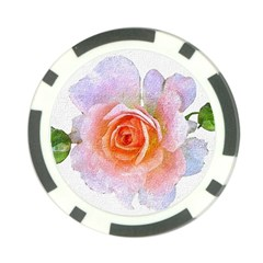 Pink Rose Flower, Floral Oil Painting Art Poker Chip Card Guard