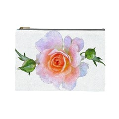 Pink Rose Flower, Floral Oil Painting Art Cosmetic Bag (large)