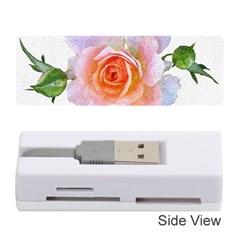 Pink Rose Flower, Floral Oil Painting Art Memory Card Reader (stick)