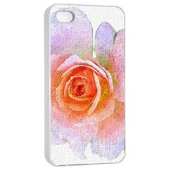 Pink Rose Flower, Floral Oil Painting Art Apple Iphone 4/4s Seamless Case (white)