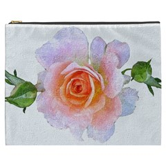 Pink Rose Flower, Floral Oil Painting Art Cosmetic Bag (xxxl)