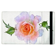 Pink Rose Flower, Floral Oil Painting Art Apple Ipad 3/4 Flip Case