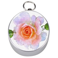 Pink Rose Flower, Floral Oil Painting Art Silver Compasses