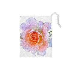 Pink Rose Flower, Floral Oil Painting Art Drawstring Pouches (small)