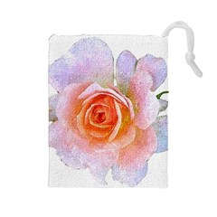Pink Rose Flower, Floral Oil Painting Art Drawstring Pouches (large)