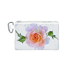 Pink Rose Flower, Floral Oil Painting Art Canvas Cosmetic Bag (s)
