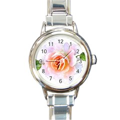 Pink Rose Flower, Floral Watercolor Aquarel Painting Art Round Italian Charm Watch