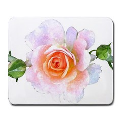 Pink Rose Flower, Floral Watercolor Aquarel Painting Art Large Mousepads