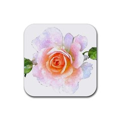 Pink Rose Flower, Floral Watercolor Aquarel Painting Art Rubber Coaster (square)