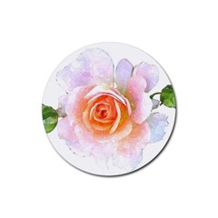Pink Rose Flower, Floral Watercolor Aquarel Painting Art Rubber Coaster (round)