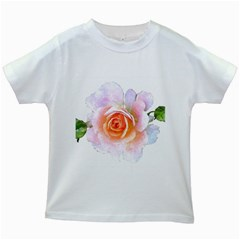 Pink Rose Flower, Floral Watercolor Aquarel Painting Art Kids White T Shirts