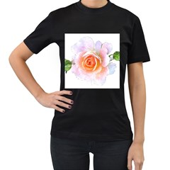 Pink Rose Flower, Floral Watercolor Aquarel Painting Art Women s T Shirt (black) (two Sided)