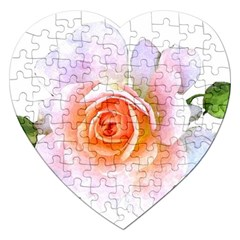 Pink Rose Flower, Floral Watercolor Aquarel Painting Art Jigsaw Puzzle (heart)