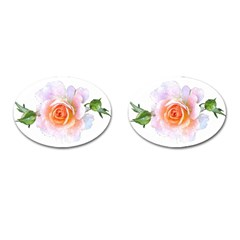 Pink Rose Flower, Floral Watercolor Aquarel Painting Art Cufflinks (oval)