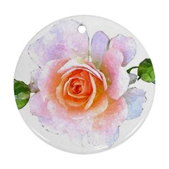 Pink Rose Flower, Floral Watercolor Aquarel Painting Art Round Ornament (two Sides)