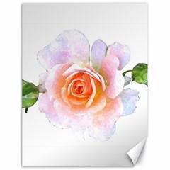Pink Rose Flower, Floral Watercolor Aquarel Painting Art Canvas 18  X 24